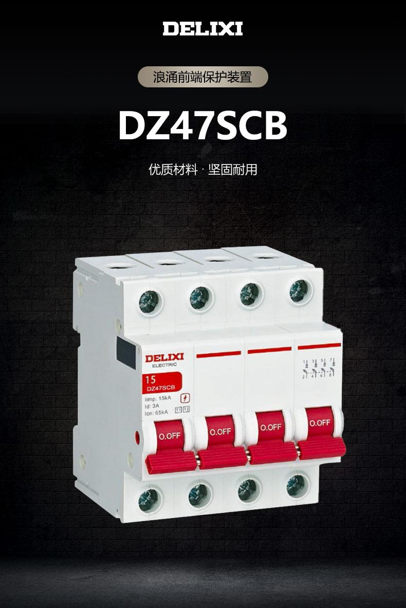 德力西浪涌保护装置DZ47SCB 防雷保护器装置 电涌保护器专用保护开关 默认分断能力100KA