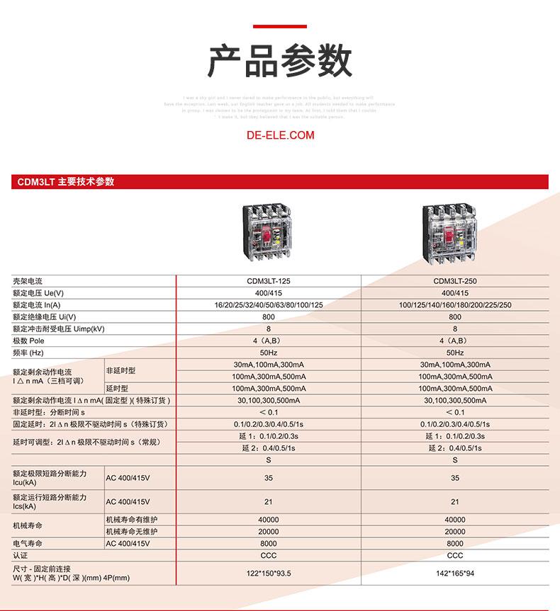 德力西CDM3LT透明塑壳漏电断路器产品技术参数