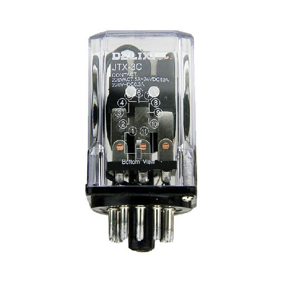 德力西小型通用继电器jtx-3c(11只脚) 圆形大功率小型